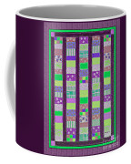 Coin Quilt - Quilt Painting - Purple And Green Patches Coffee Mug