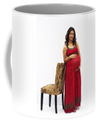 Color Portrait Young Pregnant Spanish Woman Leaning On Chair Coffee Mug