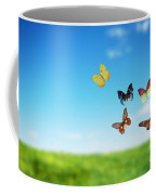 Colorful Buttefly Spring Field Coffee Mug