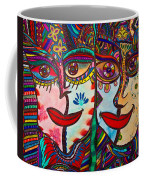 Colorful Faces Gazing - Ink Abstract Faces Coffee Mug