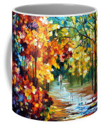 Colorful Forest - Palette Knife Oil Painting On Canvas By Leonid Afremov Coffee Mug