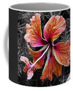 Colorful Hibiscus On Black And White 2 Coffee Mug by Kaye Menner