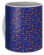 Colorful Polka Dots On Dark Blue Fabric Background Coffee Mug