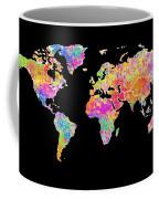 Colorful Watercolor World Map Coffee Mug