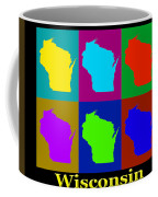Colorful Wisconsin Pop Art Map Coffee Mug