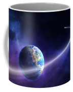 Comet Moving Past Planet Earth Coffee Mug