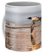 Common Merganser In Flight Coffee Mug