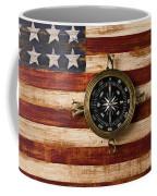 Compass On Wooden Folk Art Flag Coffee Mug by Garry Gay