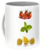 Conchiglioni Pasta Shells Tomatoes And Basil Leaves  Coffee Mug