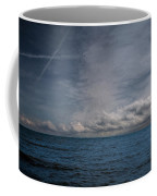Contrails And Rainclouds Over Lake Michigan Coffee Mug
