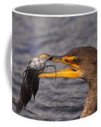 Cormorant Catching Catfish Coffee Mug