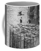 Cormorant Landing Black And White Coffee Mug