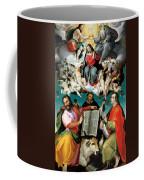 Coronation Of The Virgin With Saints Luke Dominic And John The Evangelist Coffee Mug