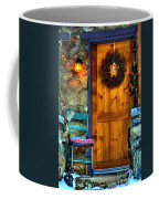 Country Cottage Door At Christmas Coffee Mug