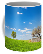 Countryside Landscape During Spring With Solitary Trees And Fence Coffee Mug