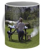 Couple Enjoying A Picnic In A Grassy Area Coffee Mug