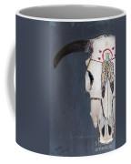 Cow Skull In Blue Coffee Mug