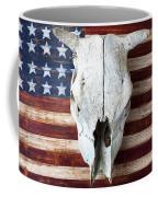 Cow Skull On Folk Art American Flag Coffee Mug by Garry Gay