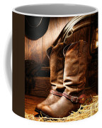 Cowboy Boots In  A Ranch Barn Coffee Mug