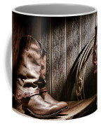 Cowboy Boots In Old Barn Coffee Mug