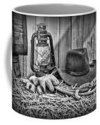 Cowboy Hat And Rodeo Lasso In A Black And White Coffee Mug by Paul Ward