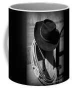 Cowboy Hat On Fence Post In Black And White Coffee Mug