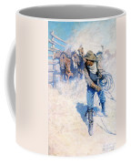 Cowboy Roping Wild Horses Coffee Mug