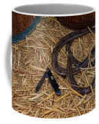 Cowboy Theme - Horseshoes And Whittling Knife Coffee Mug by Paul Ward