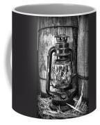 Cowboy Themed Wood Barrels And Lantern In Black And White Coffee Mug