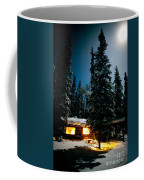 Cozy Log Cabin At Moon-lit Winter Night Coffee Mug