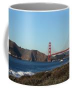 Crashing Waves And The Golden Gate Bridge Coffee Mug by Linda Woods