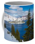 Crater Lake Winter Panorama Coffee Mug