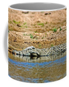 Crocodile In Watering Hole In Kruger National Park-south Africa Coffee Mug