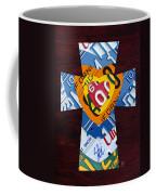 Cross With Heart Rustic License Plate Art On Dark Red Wood Coffee Mug