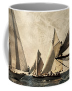 A Vintage Processed Image Of A Sail Race In Port Mahon Menorca - Crowded Sea Coffee Mug