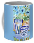 Cups And Flowers-  Watercolor Floral Painting Coffee Mug by Linda Woods