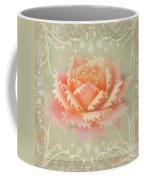 Curlyicue Peach Rose With Flourshis   Square Coffee Mug