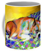 Cute Boxer Dog Portrait Painting Coffee Mug by Svetlana Novikova