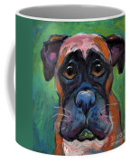Cute Boxer Puppy Dog With Big Eyes Painting Coffee Mug