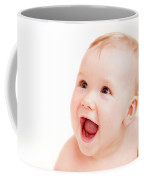 Cute Happy Baby Laughing On White Coffee Mug