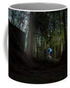 Cyclist In Mountain Forest Coffee Mug