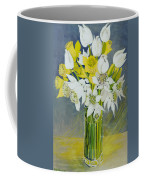 Daffodils And White Tulips In An Octagonal Glass Vase Coffee Mug