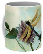 Dahlia With Dragonfly Resting Coffee Mug