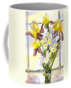 Daisies With Yellow Irises Coffee Mug