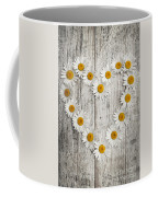 Daisy Heart On Old Wood Coffee Mug