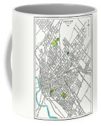Dallas Texas Hand Drawn Map  1893 Coffee Mug