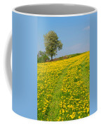 Dandelion Meadow And Alone Tree  Coffee Mug