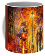 Date By The Trolley - Palette Knife Oil Painting On Canvas By Leonid Afremov Coffee Mug