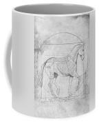 Da Vinci Horse Piaffe Grayscale Coffee Mug