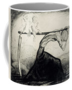 Death With Two Children Carried On His Scythe Coffee Mug by Michel Fingesten
